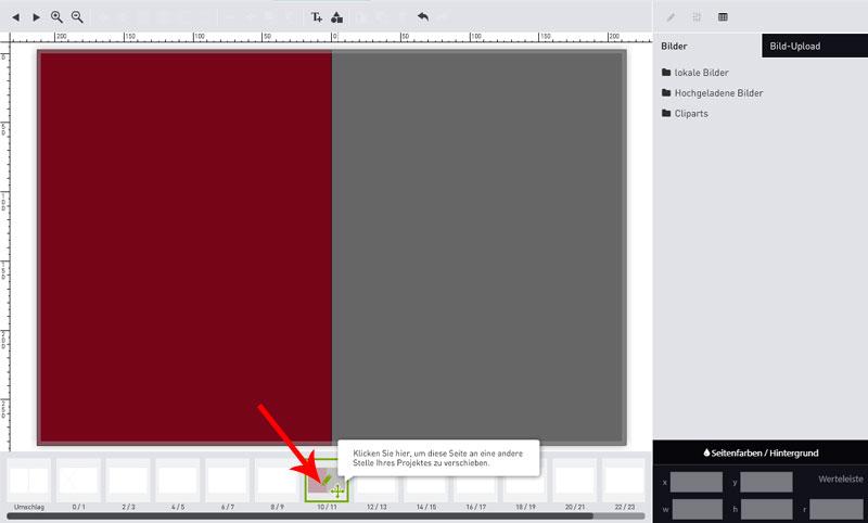 Screenshot Seiten verschieben Fotoalbum Schritt 1