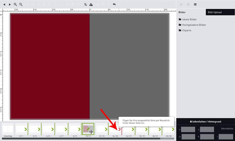 Screenshot Seiten verschieben Fotoalbum Schritt 2